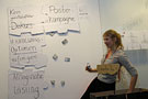 Bei der Final Presentation der School of Design Thinking des Potsdamer Hasso-Plattner-Instituts: Studentin Nora Rathje als Erkenntnisfee zeigt Schwerpunkte bei der künftigen Produktvermarktung